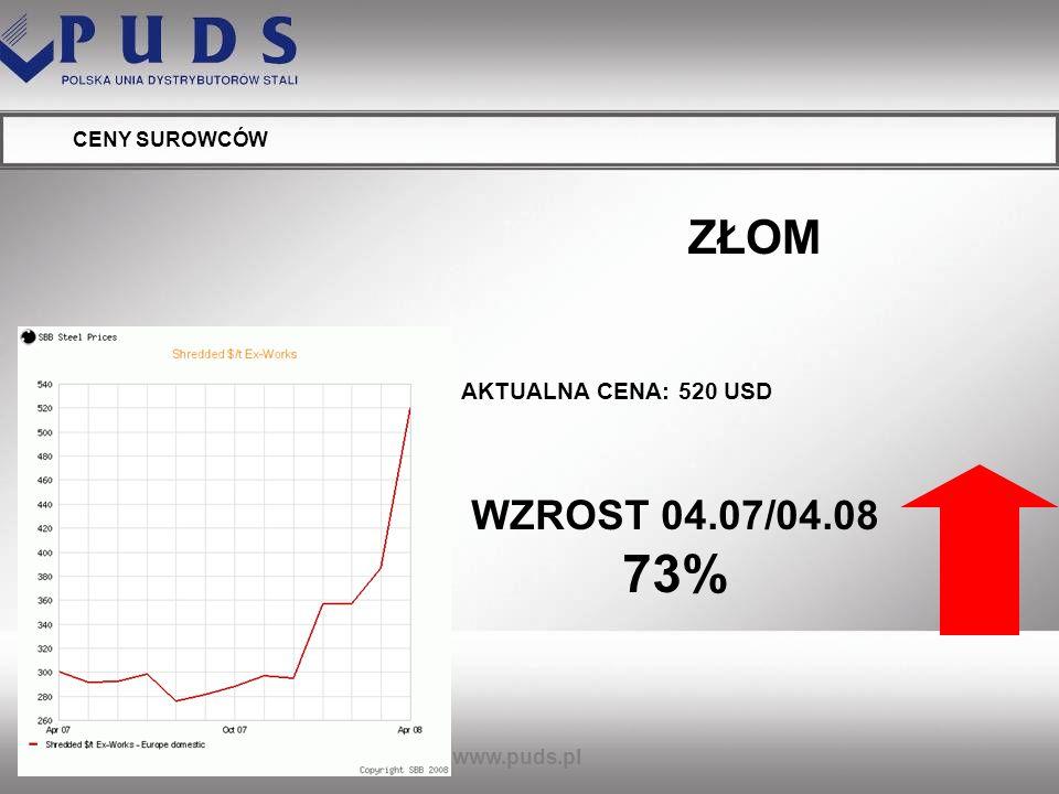 www.puds.pl CENY SUROWCÓW ENERGIA (POLSKA) WZROST 07/08 37%