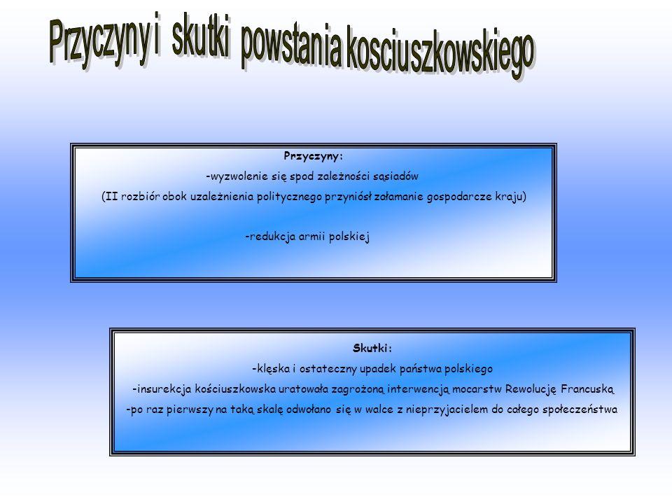 Przyczyny: -wyzwolenie się spod zależności sąsiadów (II rozbiór obok uzależnienia politycznego przyniósł załamanie gospodarcze kraju) -redukcja armii polskiej Skutki: -klęska i ostateczny upadek państwa polskiego -insurekcja kościuszkowska uratowała zagrożoną interwencją mocarstw Rewolucję Francuską -po raz pierwszy na taką skalę odwołano się w walce z nieprzyjacielem do całego społeczeństwa