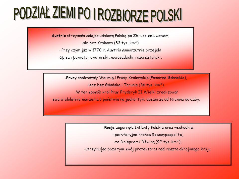 -ratyfikacja przez sejm Rzeczypospolitej traktatu rozbiorowego pod groźbą dalszych aneksji (daremny protest posła z ziemi nowogrodzkiej Tadeusza Rejtana); -wymuszone traktaty handlowe z zaborcami (m.in.