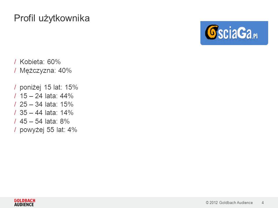© 2012 Goldbach Audience4 /Kobieta: 60% /Mężczyzna: 40% /poniżej 15 lat: 15% /15 – 24 lata: 44% /25 – 34 lata: 15% /35 – 44 lata: 14% /45 – 54 lata: 8