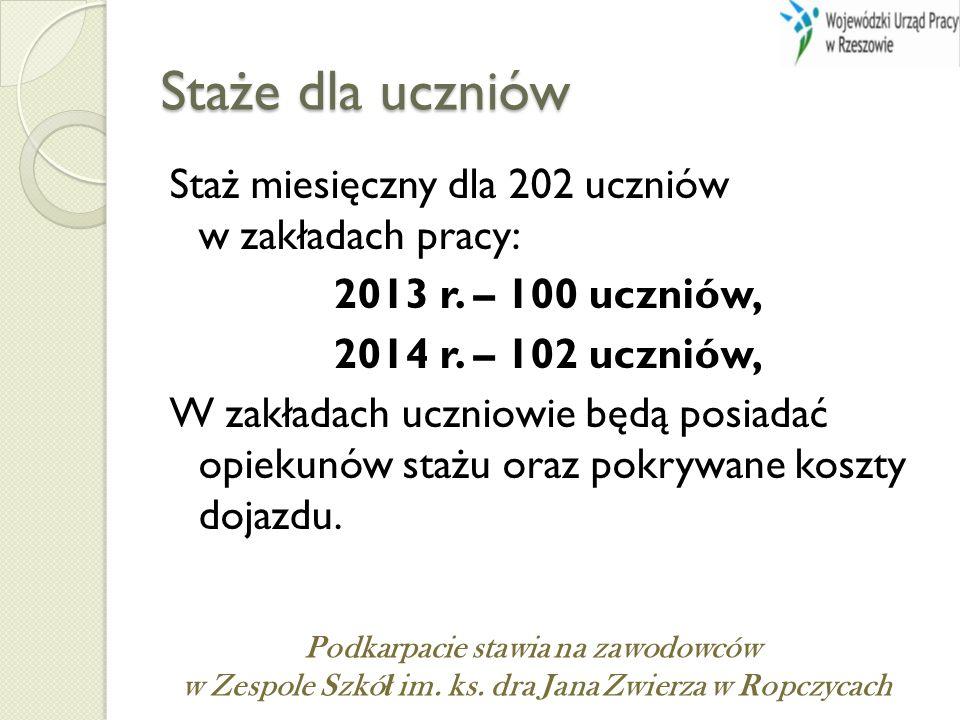 Staże dla uczniów Staż miesięczny dla 202 uczniów w zakładach pracy: 2013 r. – 100 uczniów, 2014 r. – 102 uczniów, W zakładach uczniowie będą posiadać