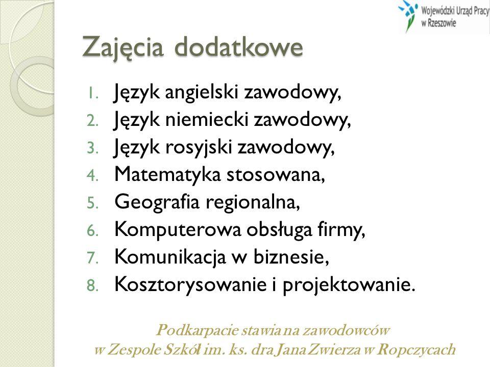 Zajęcia dodatkowe 1. Język angielski zawodowy, 2.