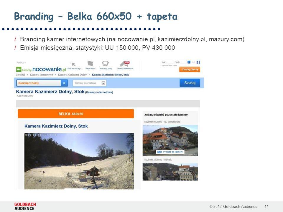 © 2012 Goldbach Audience11 /Branding kamer internetowych (na nocowanie.pl, kazimierzdolny.pl, mazury.com) /Emisja miesięczna, statystyki: UU 150 000, PV 430 000 Branding – Belka 660x50 + tapeta
