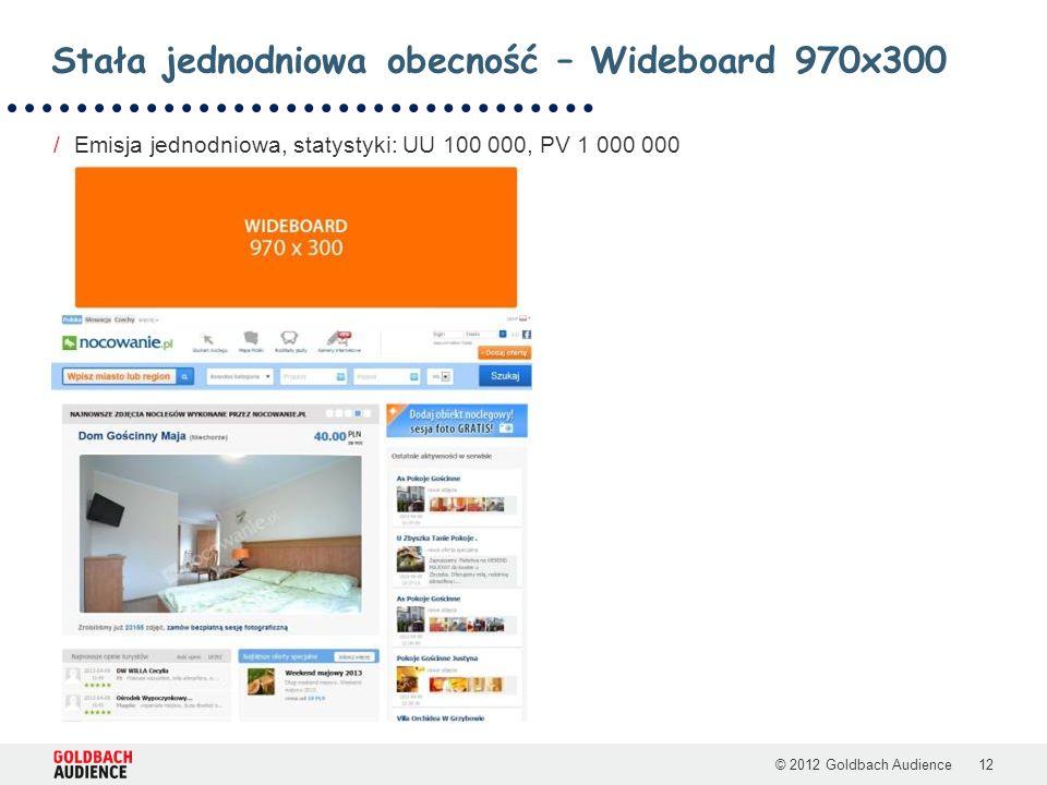 © 2012 Goldbach Audience12 /Emisja jednodniowa, statystyki: UU 100 000, PV 1 000 000 Stała jednodniowa obecność – Wideboard 970x300