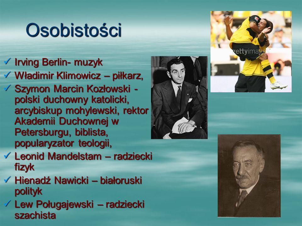 Osobistości Irving Berlin- muzyk Irving Berlin- muzyk Władimir Klimowicz – piłkarz, Władimir Klimowicz – piłkarz, Szymon Marcin Kozłowski - polski duc