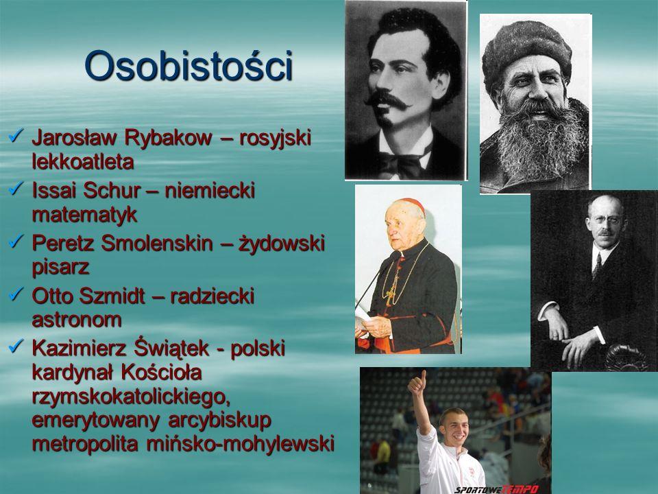 Osobistości Jarosław Rybakow – rosyjski lekkoatleta Jarosław Rybakow – rosyjski lekkoatleta Issai Schur – niemiecki matematyk Issai Schur – niemiecki