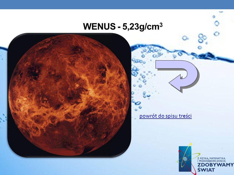 WENUS - 5,23g/cm 3 powrót do spisu treści