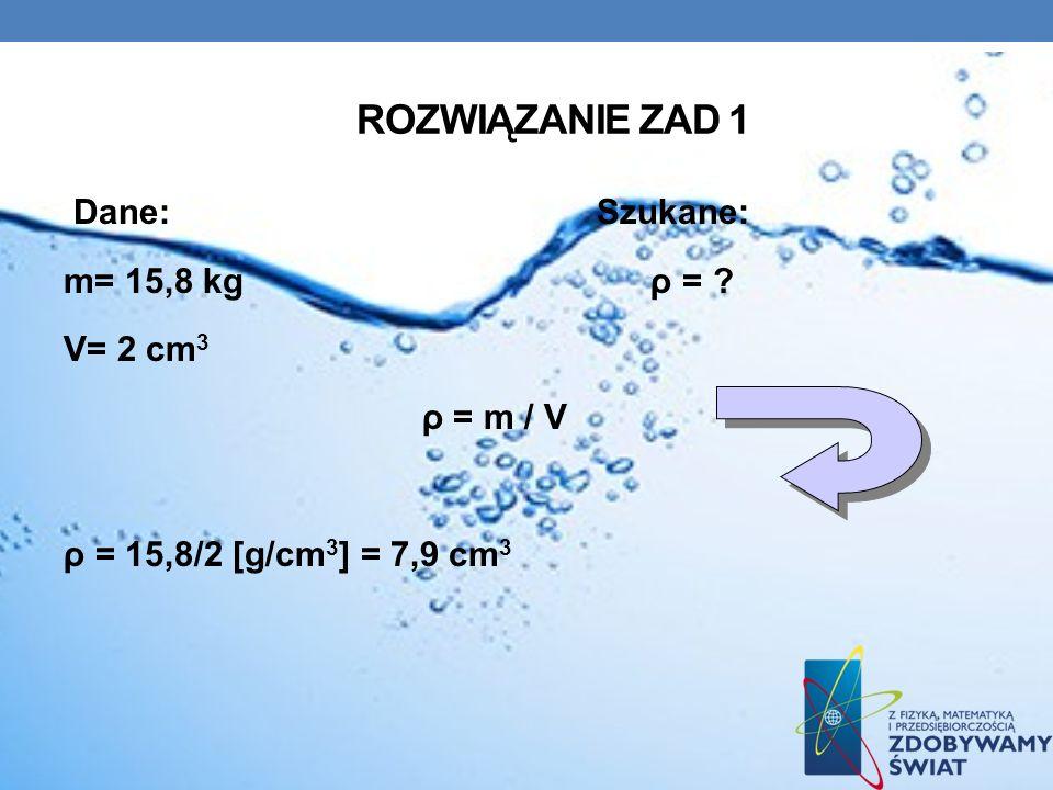 ROZWIĄZANIE ZAD 1 Dane: Szukane: m= 15,8 kg ρ = ? V= 2 cm 3 ρ = m / V ρ = 15,8/2 [g/cm 3 ] = 7,9 cm 3