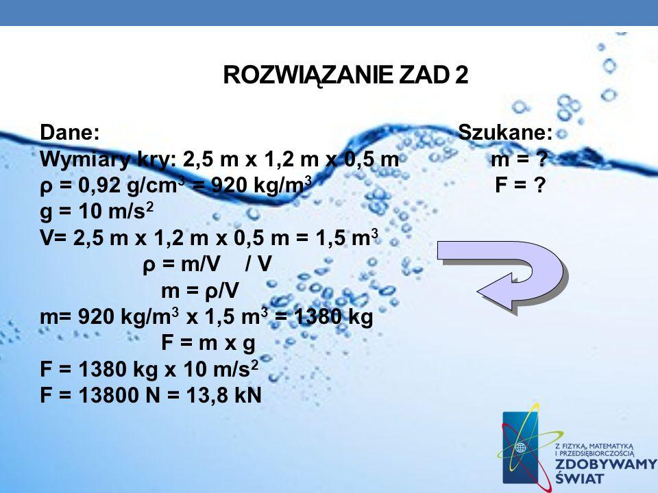 ROZWIĄZANIE ZAD 2 Dane: Szukane: Wymiary kry: 2,5 m x 1,2 m x 0,5 m m = ? ρ = 0,92 g/cm 3 = 920 kg/m 3 F = ? g = 10 m/s 2 V= 2,5 m x 1,2 m x 0,5 m = 1