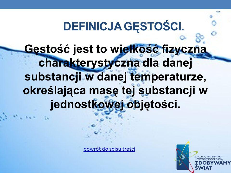 DEFINICJA GĘSTOŚCI. Gęstość jest to wielkość fizyczna charakterystyczna dla danej substancji w danej temperaturze, określająca masę tej substancji w j