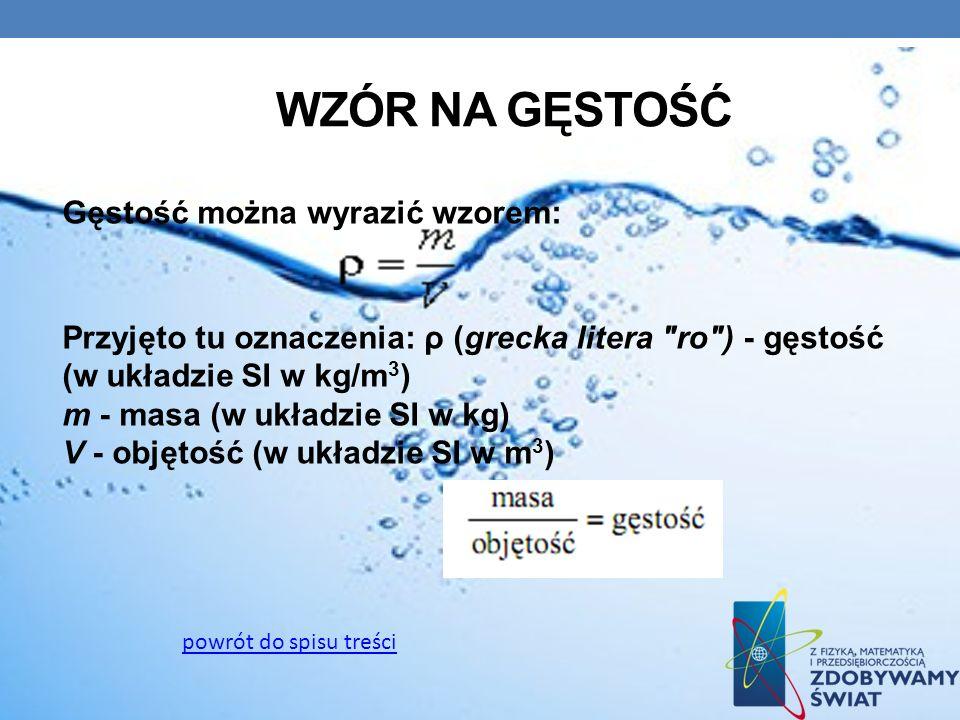 WZÓR NA GĘSTOŚĆ Gęstość można wyrazić wzorem: Przyjęto tu oznaczenia: ρ (grecka litera