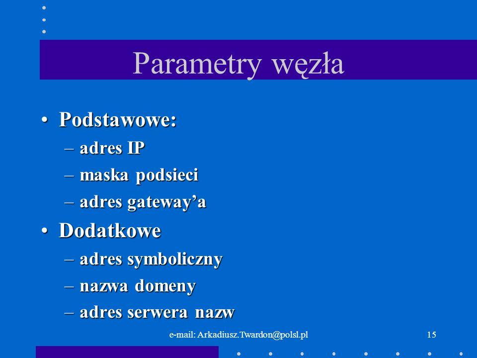 e-mail: Arkadiusz.Twardon@polsl.pl14 Maska podsieci Wyjaśnienie:Wyjaśnienie: –wynik porównania –10011101.10011110.00001011.10000000 –10011101.10011110.00001011.10100000 WniosekWniosek –adres z innej sieci przekazać do rutera