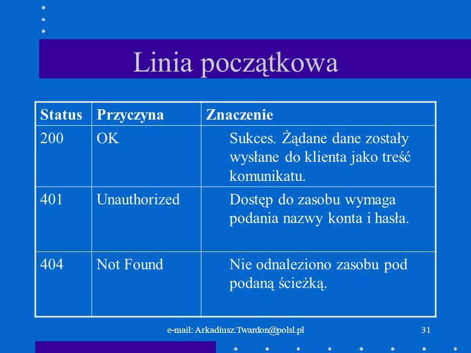 e-mail: Arkadiusz.Twardon@polsl.pl30 Linia początkowa - opis statusu realizacji żądania w postaci tekstowej, czytelnej zrozumiałej dla człowieka.