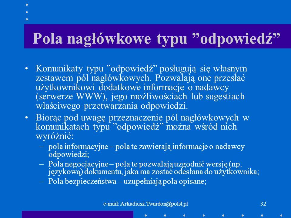 e-mail: Arkadiusz.Twardon@polsl.pl31 Linia początkowa StatusPrzyczynaZnaczenie 200OKSukces.