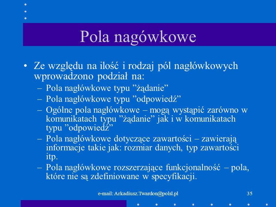 e-mail: Arkadiusz.Twardon@polsl.pl34 Pola nagłówkowe.