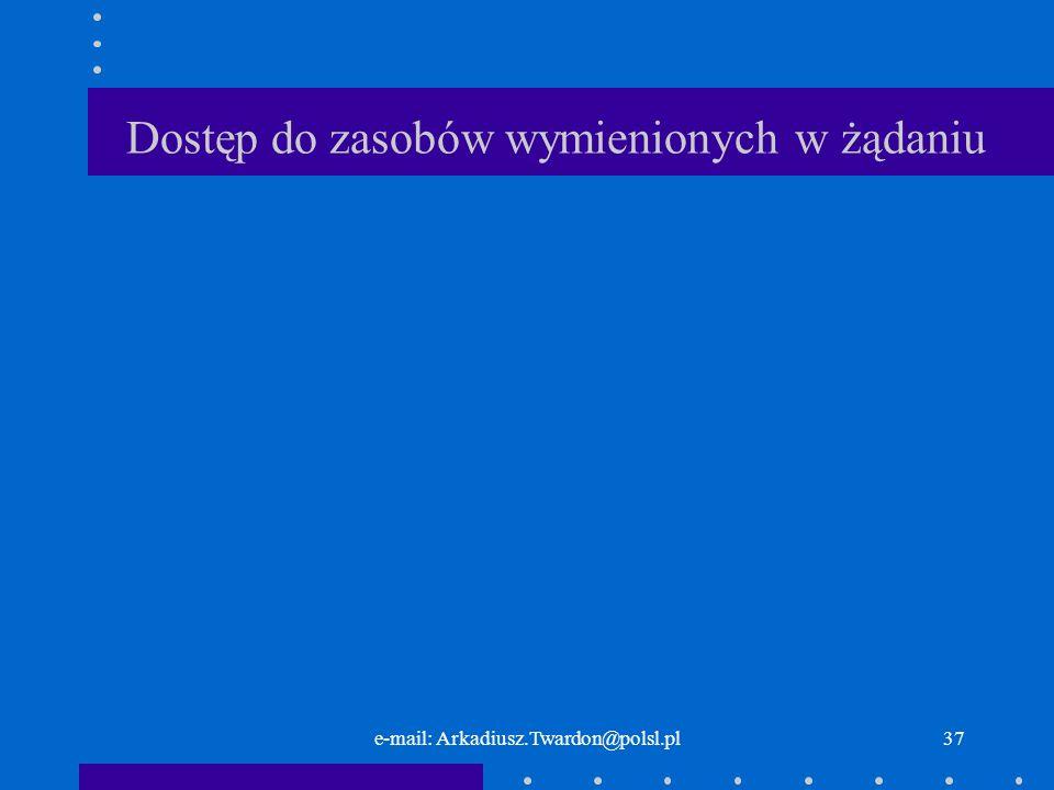 e-mail: Arkadiusz.Twardon@polsl.pl36 Działanie serwera WWW Serwer WWW niezależnie od stopnia zaawansowania technologicznego musi wykonywać pewne podstawowe kroki w celu prawidłowego zaimplementowania obsługi protokołu HTTP.
