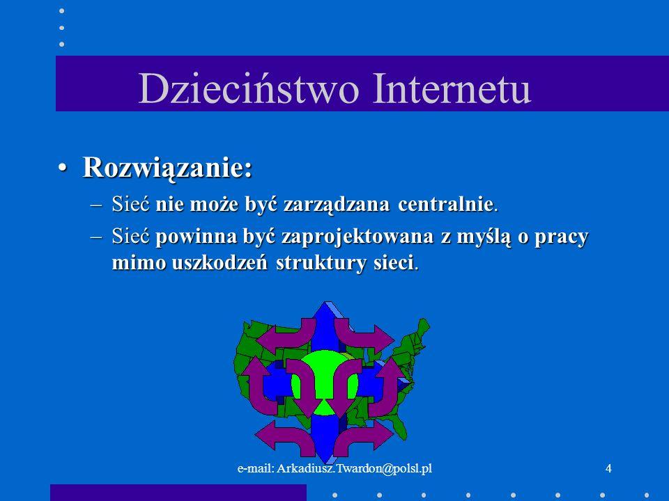 e-mail: Arkadiusz.Twardon@polsl.pl3 Dzieciństwo Internetu Problem:Problem: –W jaki sposób władze USA będą się komunikować po ataku jądrowym
