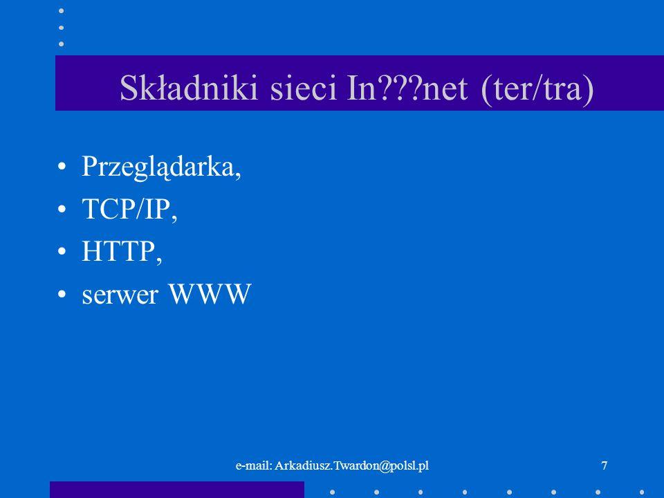 e-mail: Arkadiusz.Twardon@polsl.pl6 Młodość Internetu Sieć straciła charakter militarnySieć straciła charakter militarny Naukowcy zaczęli wykorzystywać sieć jako narzędzie do poszukiwania i wymiany informacji badawczych.Naukowcy zaczęli wykorzystywać sieć jako narzędzie do poszukiwania i wymiany informacji badawczych.