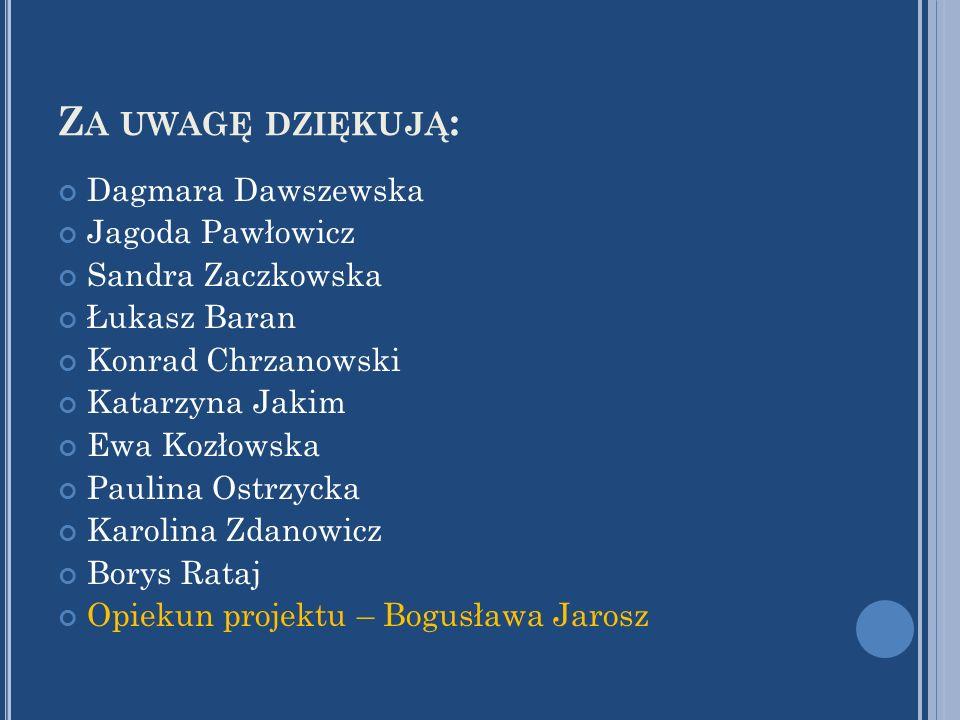 Z A UWAGĘ DZIĘKUJĄ : Dagmara Dawszewska Jagoda Pawłowicz Sandra Zaczkowska Łukasz Baran Konrad Chrzanowski Katarzyna Jakim Ewa Kozłowska Paulina Ostrz