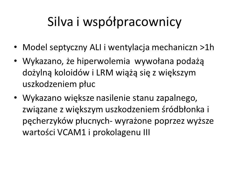 Silva i współpracownicy Model septyczny ALI i wentylacja mechaniczn >1h Wykazano, że hiperwolemia wywołana podażą dożylną koloidów i LRM wiążą się z większym uszkodzeniem płuc Wykazano większe nasilenie stanu zapalnego, związane z większym uszkodzeniem śródbłonka i pęcherzyków płucnych- wyrażone poprzez wyższe wartości VCAM1 i prokolagenu III