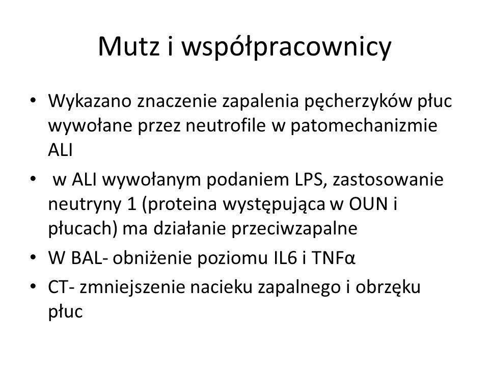 Mutz i współpracownicy Wykazano znaczenie zapalenia pęcherzyków płuc wywołane przez neutrofile w patomechanizmie ALI w ALI wywołanym podaniem LPS, zastosowanie neutryny 1 (proteina występująca w OUN i płucach) ma działanie przeciwzapalne W BAL- obniżenie poziomu IL6 i TNFα CT- zmniejszenie nacieku zapalnego i obrzęku płuc