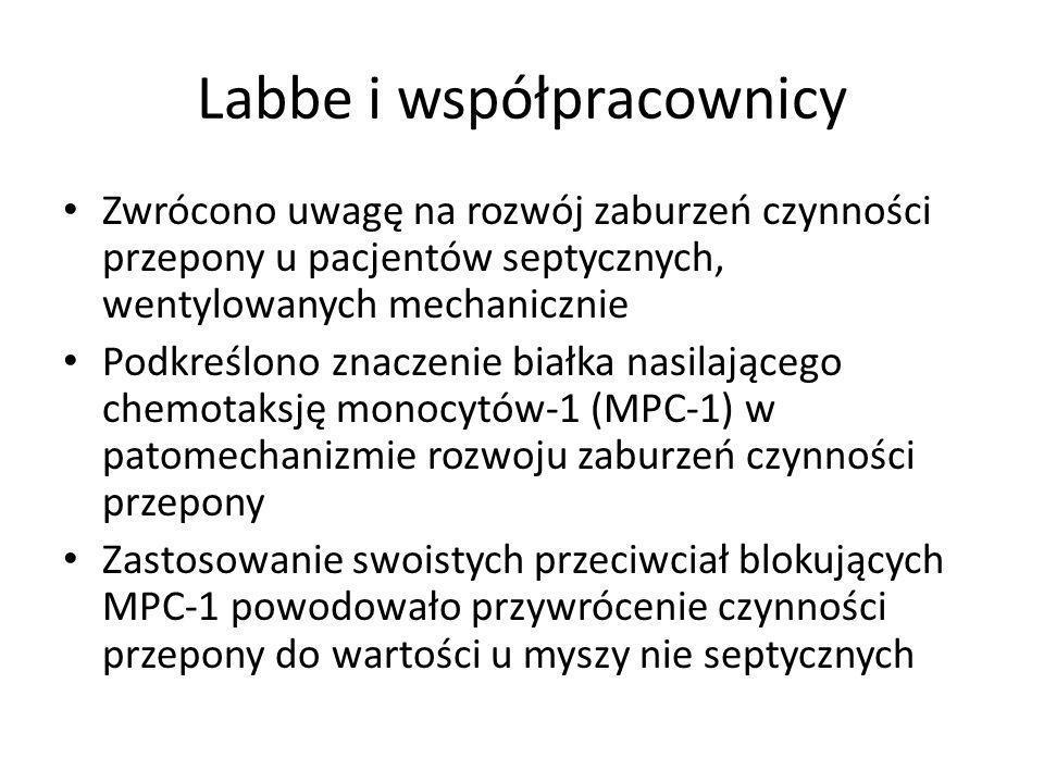 Labbe i współpracownicy Zwrócono uwagę na rozwój zaburzeń czynności przepony u pacjentów septycznych, wentylowanych mechanicznie Podkreślono znaczenie białka nasilającego chemotaksję monocytów-1 (MPC-1) w patomechanizmie rozwoju zaburzeń czynności przepony Zastosowanie swoistych przeciwciał blokujących MPC-1 powodowało przywrócenie czynności przepony do wartości u myszy nie septycznych