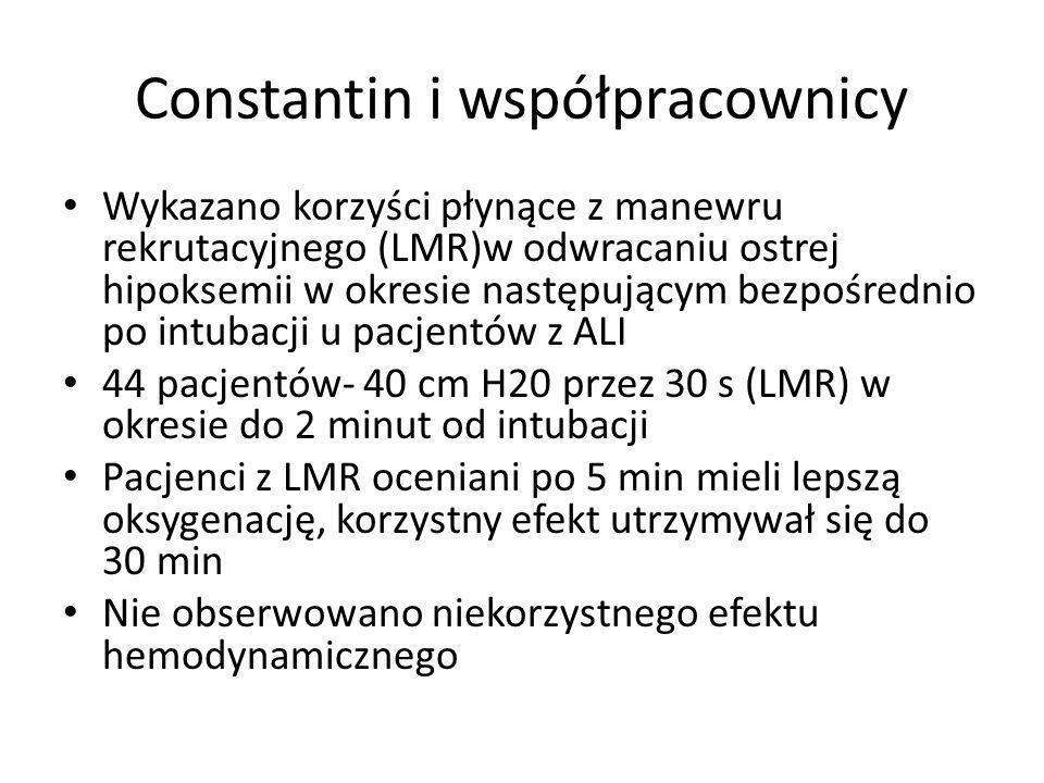 Constantin i współpracownicy Wykazano korzyści płynące z manewru rekrutacyjnego (LMR)w odwracaniu ostrej hipoksemii w okresie następującym bezpośrednio po intubacji u pacjentów z ALI 44 pacjentów- 40 cm H20 przez 30 s (LMR) w okresie do 2 minut od intubacji Pacjenci z LMR oceniani po 5 min mieli lepszą oksygenację, korzystny efekt utrzymywał się do 30 min Nie obserwowano niekorzystnego efektu hemodynamicznego