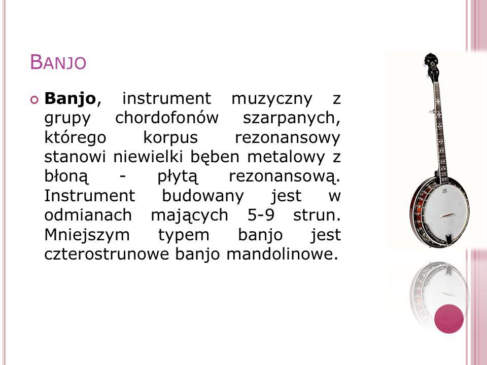 B ANJO Banjo, instrument muzyczny z grupy chordofonów szarpanych, którego korpus rezonansowy stanowi niewielki bęben metalowy z błoną - płytą rezonans