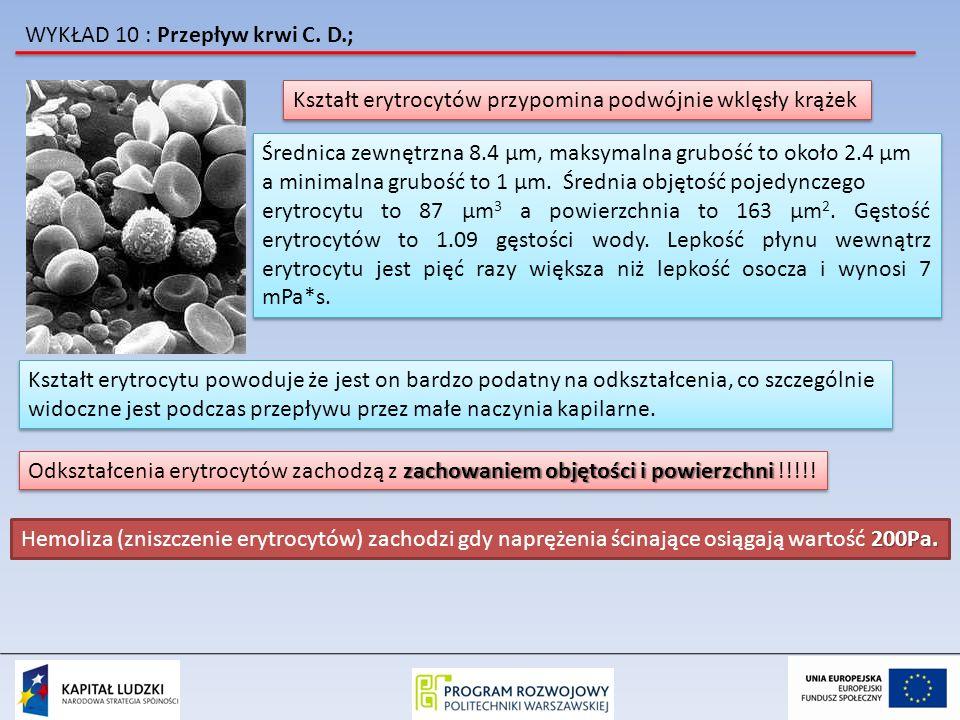 WYKŁAD 10 : Przepływ krwi C. D.; Kształt erytrocytów przypomina podwójnie wklęsły krążek Średnica zewnętrzna 8.4 μm, maksymalna grubość to około 2.4 μ