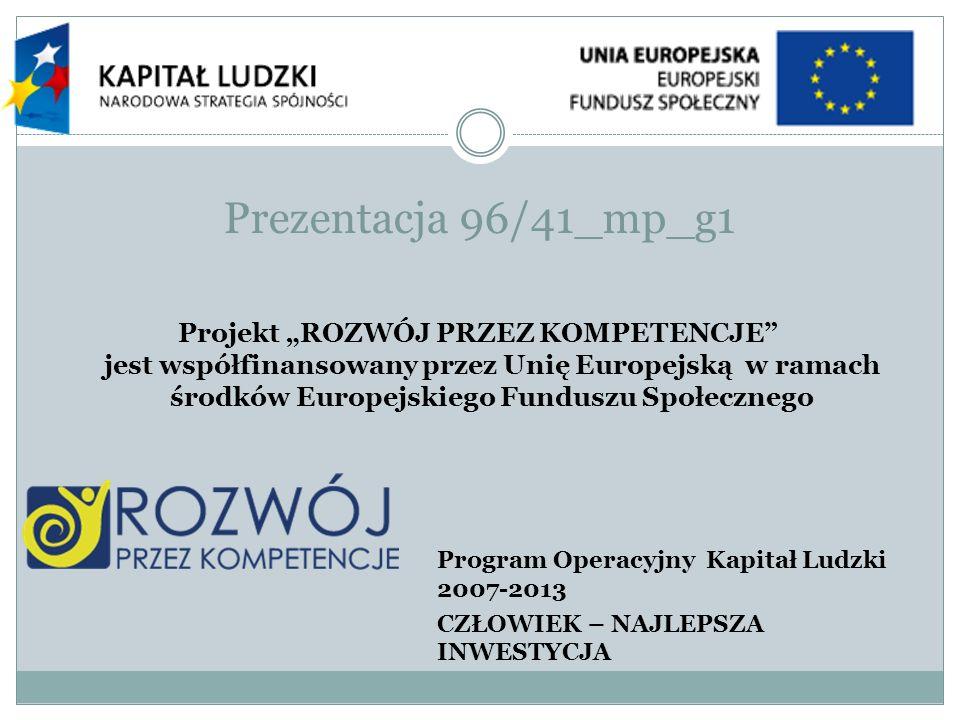 Prezentacja 96/41_mp_g1 Projekt ROZWÓJ PRZEZ KOMPETENCJE jest współfinansowany przez Unię Europejską w ramach środków Europejskiego Funduszu Społeczne
