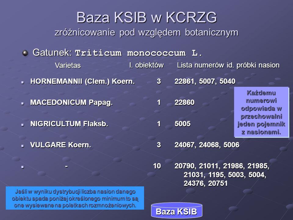 Jeśli w wyniku dystrybucji liczba nasion danego obiektu spada poniżej określonego minimum to są one wysiewane na poletkach rozmnożeniowych. Baza KSIB