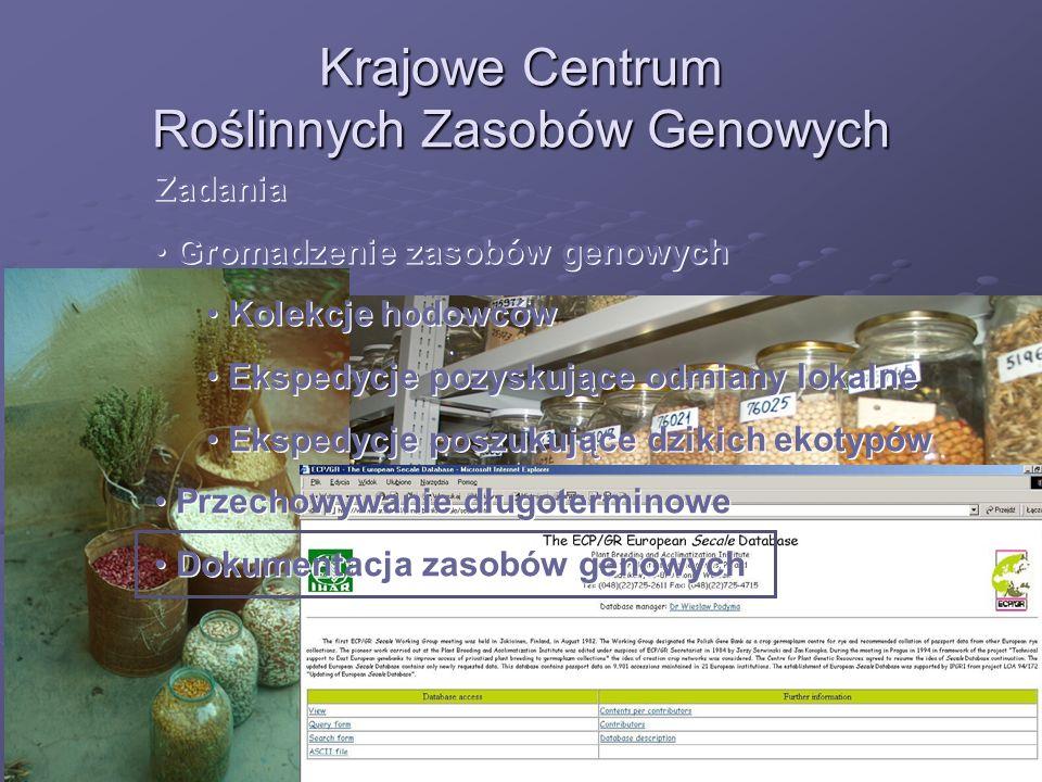 Krajowe Centrum Roślinnych Zasobów Genowych Zadania Gromadzenie zasobów genowych Kolekcje hodowców Ekspedycje pozyskujące odmiany lokalne Ekspedycje p