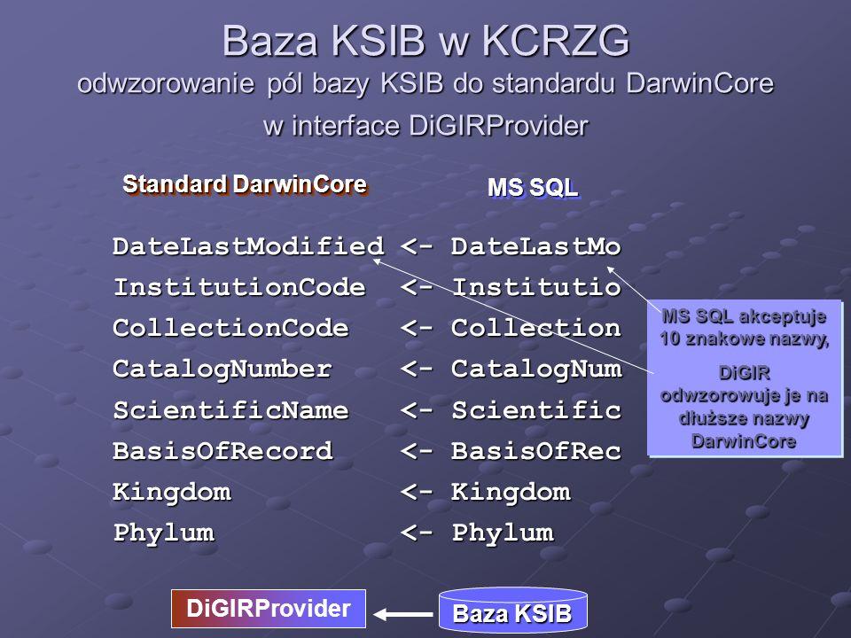 Baza KSIB w KCRZG odwzorowanie pól bazy KSIB do standardu DarwinCore w interface DiGIRProvider MS SQL Standard DarwinCore DiGIRProvider Baza KSIB Class <– Class Order <- bioOrder Family <- Family Genus <- Genus Species <- Species SubSpecies <- SubSpecies Country <- Country Notes <- Notes Słowo order jest słowem zastrzeżonym w MS SQL – można je zastąpić innym, a za pomocą DiGIRa odwzorować je na nazwę Order