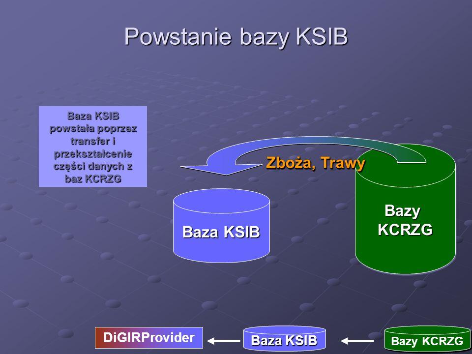 BazyKCRZGBazyKCRZG Baza KSIB powstała poprzez transfer i przekształcenie części danych z baz KCRZG Powstanie bazy KSIB Baza KSIB Bazy KCRZG DiGIRProvi