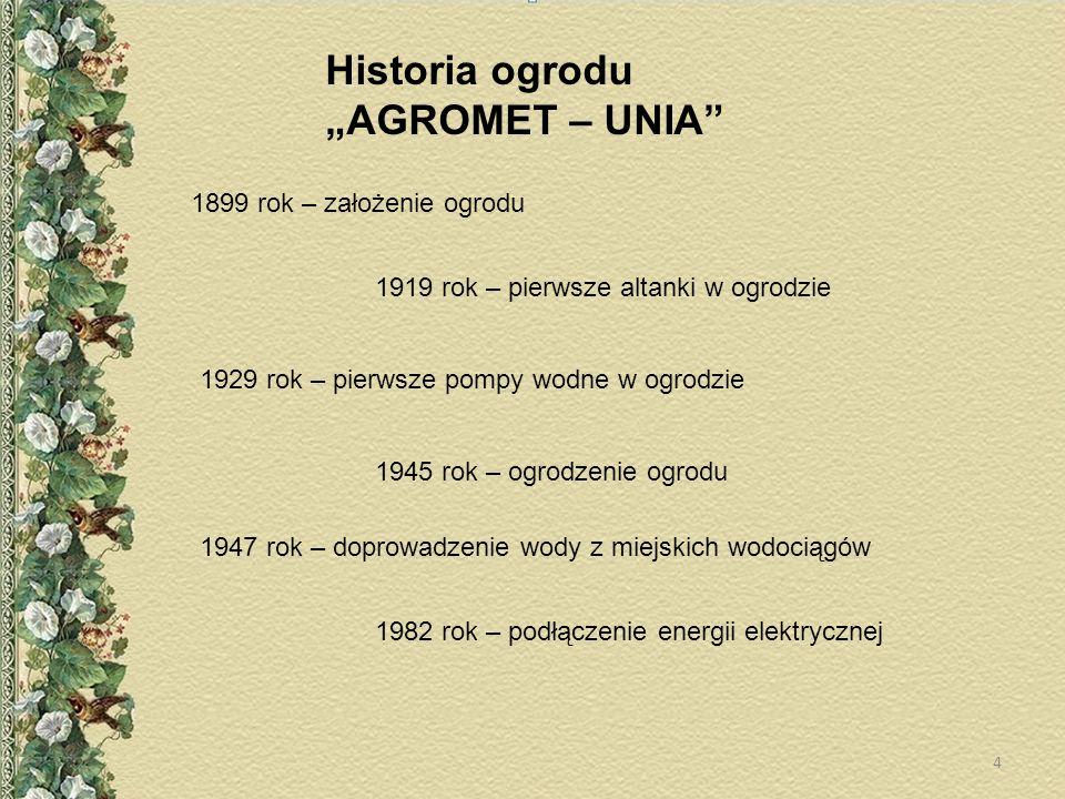 Historia ogrodu AGROMET – UNIA 1899 rok – założenie ogrodu 1919 rok – pierwsze altanki w ogrodzie 1929 rok – pierwsze pompy wodne w ogrodzie 1945 rok