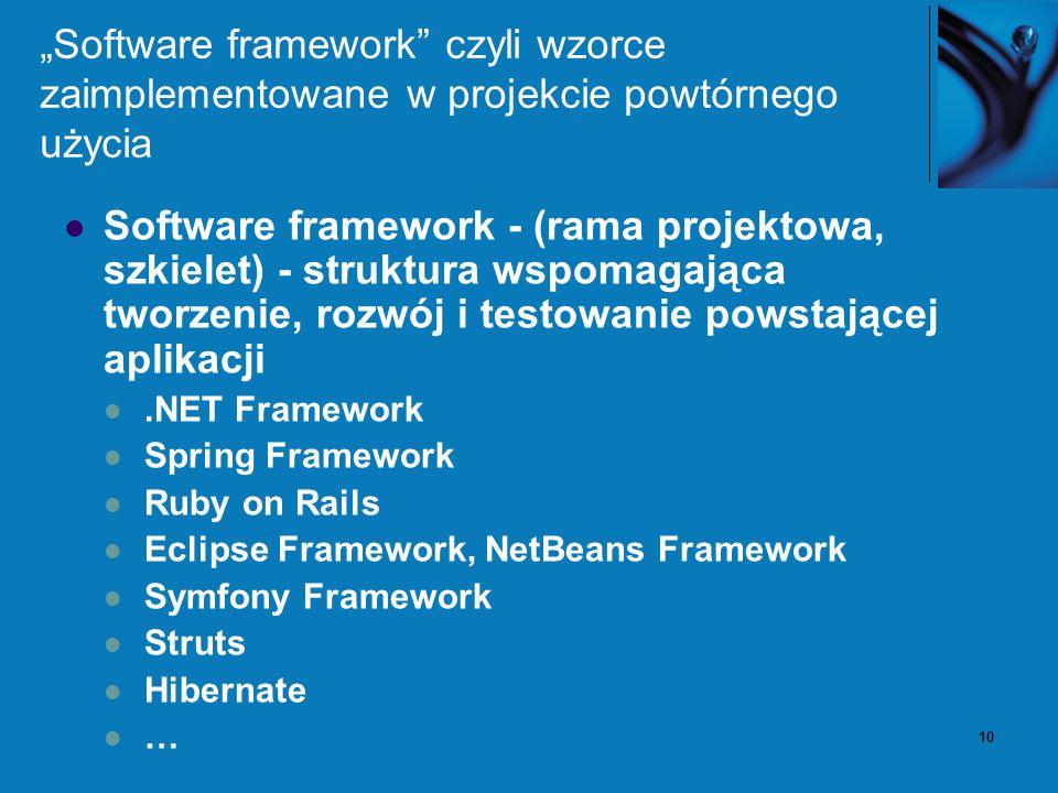 10 Software framework czyli wzorce zaimplementowane w projekcie powtórnego użycia Software framework - (rama projektowa, szkielet) - struktura wspomag