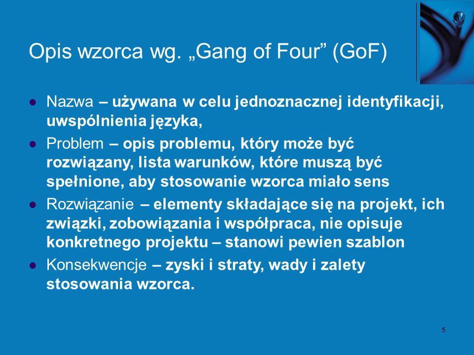 5 Opis wzorca wg. Gang of Four (GoF) Nazwa – używana w celu jednoznacznej identyfikacji, uwspólnienia języka, Problem – opis problemu, który może być