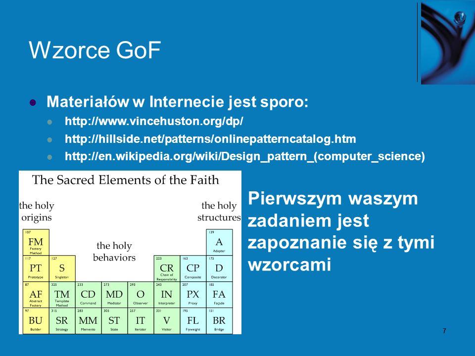 7 Wzorce GoF Materiałów w Internecie jest sporo: http://www.vincehuston.org/dp/ http://hillside.net/patterns/onlinepatterncatalog.htm http://en.wikipe