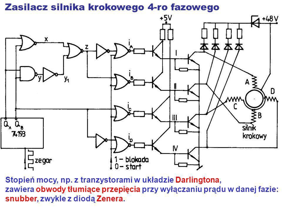 Stopień mocy, np. z tranzystorami w układzie Darlingtona, zawiera obwody tłumiące przepięcia przy wyłączaniu prądu w danej fazie: snubber, zwykle z di