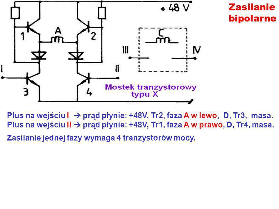 Zasilanie bipolarne Plus na wejściu I prąd płynie: +48V, Tr2, faza A w lewo, D, Tr3, masa. Plus na wejściu II prąd płynie: +48V, Tr1, faza A w prawo,