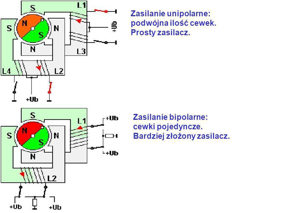 Zasilanie unipolarne: podwójna ilość cewek. Prosty zasilacz. Zasilanie bipolarne: cewki pojedyncze. Bardziej złożony zasilacz.