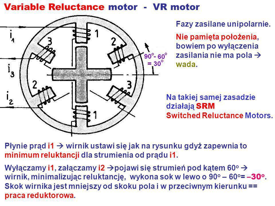 Variable Reluctance motor - VR motor Fazy zasilane unipolarnie. Nie pamięta położenia, bowiem po wyłączenia zasilania nie ma pola wada. Płynie prąd i1