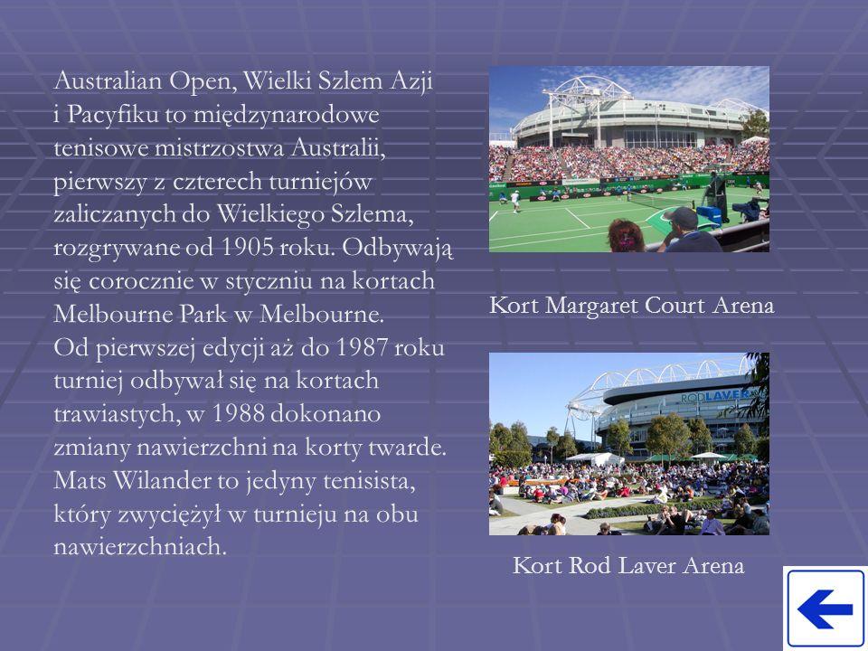 Australian Open, Wielki Szlem Azji i Pacyfiku to międzynarodowe tenisowe mistrzostwa Australii, pierwszy z czterech turniejów zaliczanych do Wielkiego