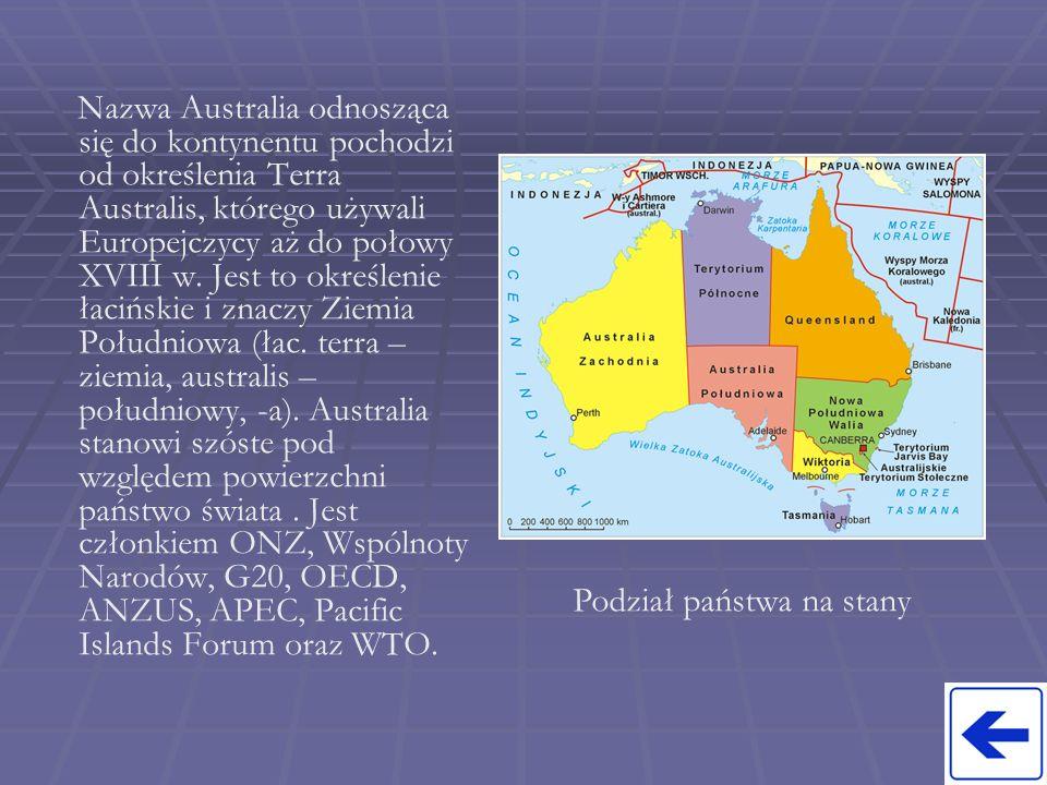 Nazwa Australia odnosząca się do kontynentu pochodzi od określenia Terra Australis, którego używali Europejczycy aż do połowy XVIII w. Jest to określe