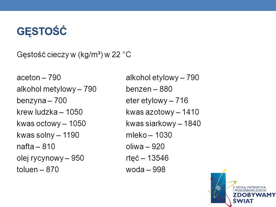 GĘSTOŚĆ Gęstość cieczy w (kg/m³) w 22 °C aceton – 790 alkohol etylowy – 790 alkohol metylowy – 790 benzen – 880 benzyna – 700 eter etylowy – 716 krew ludzka – 1050 kwas azotowy – 1410 kwas octowy – 1050 kwas siarkowy – 1840 kwas solny – 1190 mleko – 1030 nafta – 810 oliwa – 920 olej rycynowy – 950 rtęć – 13546 toluen – 870 woda – 998