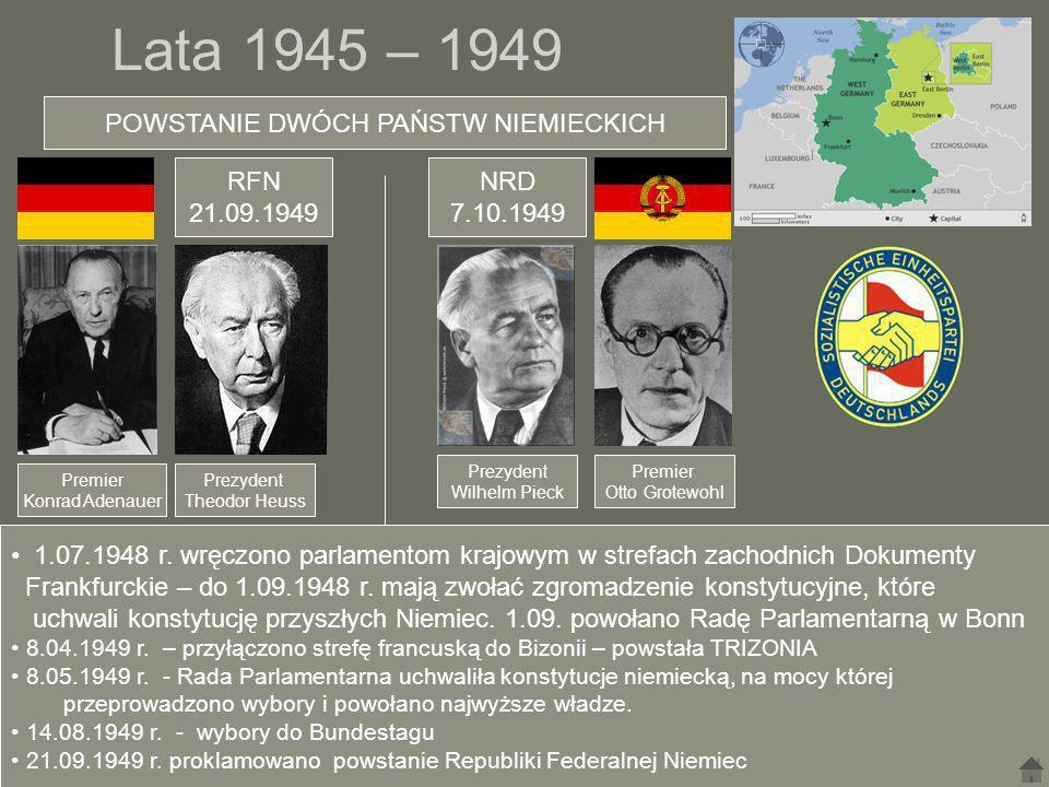 Lata 1945 – 1949 POWSTANIE DWÓCH PAŃSTW NIEMIECKICH Premier Konrad Adenauer Prezydent Theodor Heuss Prezydent Wilhelm Pieck Premier Otto Grotewohl RFN