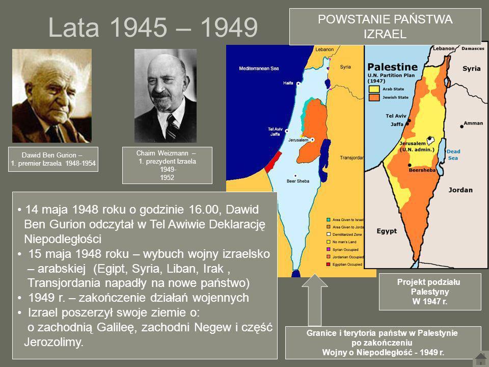 Lata 1945 – 1949 Granice i terytoria państw w Palestynie po zakończeniu Wojny o Niepodległość - 1949 r. Dawid Ben Gurion – 1. premier Izraela 1948-195