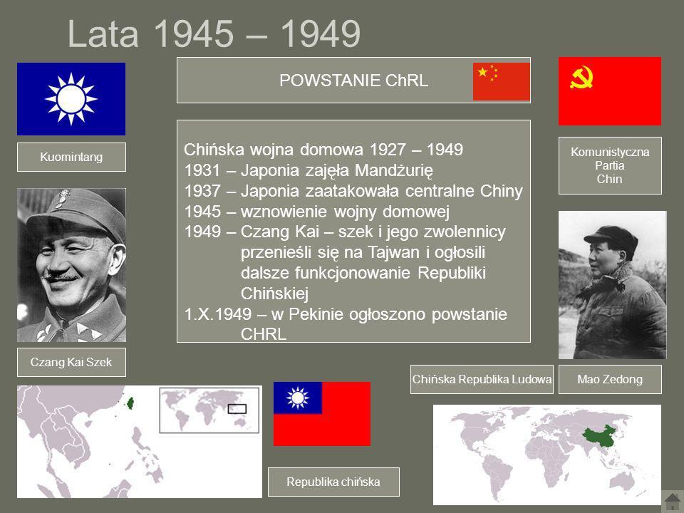 Lata 1945 – 1949 Mao Zedong Czang Kai Szek Kuomintang Chińska wojna domowa 1927 – 1949 1931 – Japonia zajęła Mandżurię 1937 – Japonia zaatakowała cent