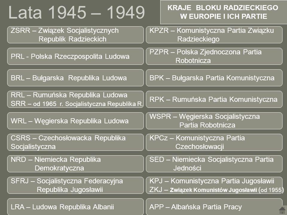 Lata 1945 – 1949 KRAJE BLOKU RADZIECKIEGO W EUROPIE I ICH PARTIE PRL - Polska Rzeczpospolita Ludowa PZPR – Polska Zjednoczona Partia Robotnicza RRL –