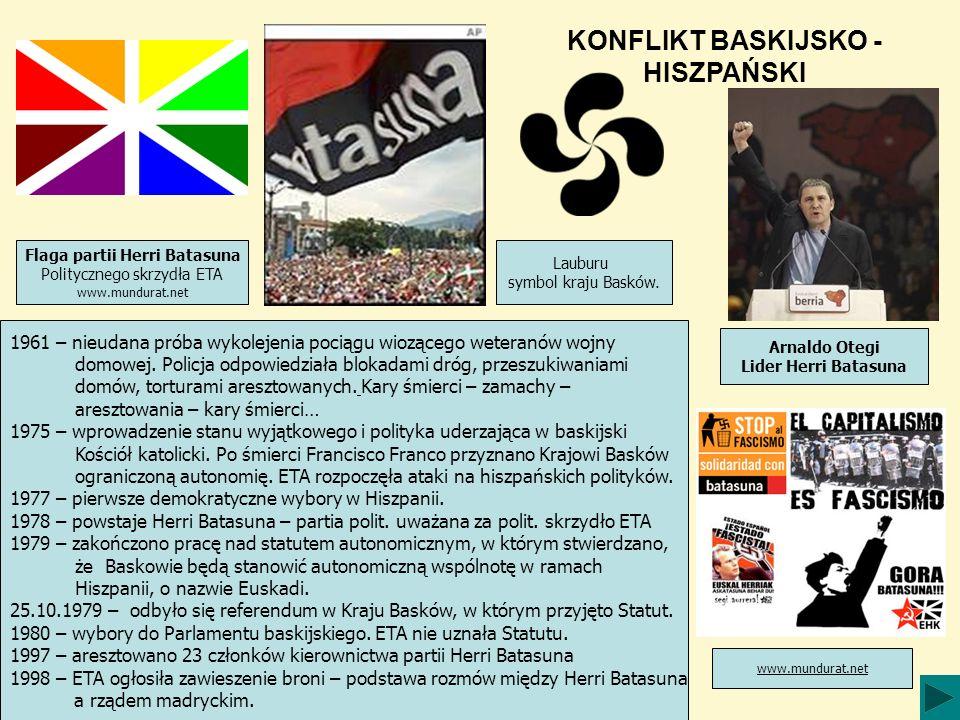 KONFLIKT BASKIJSKO - HISZPAŃSKI 1961 – nieudana próba wykolejenia pociągu wiozącego weteranów wojny domowej.